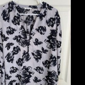 Pretty black and grey floral blouse